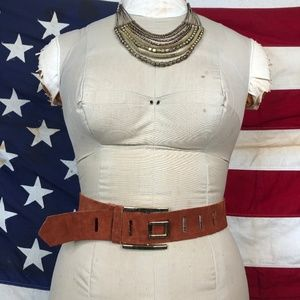 Vintage Orange & Gold Suede Belt